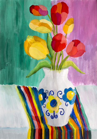 decanter: Childrens drawing Still life with tulips Stock Photo