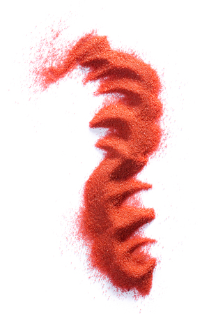 particulate: Abstract figure made of red sand on a white background Stock Photo