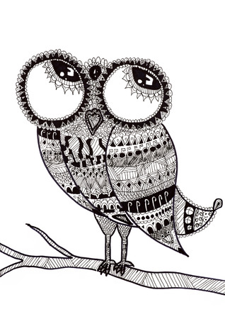 child's: Childs drawing owls on branch, executed in the style doodling Stock Photo
