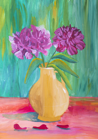 decanter: Childrens drawing Still Life with Flowers Stock Photo