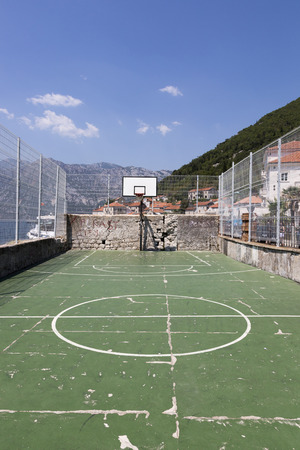 Public sports ground in the city of Perast, Montenegro.