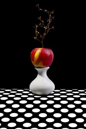 Stilleven met een appel op een witte vaas