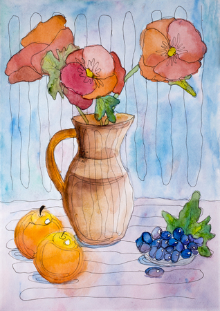 Childrens Watercolor Painting Still Life With Flowers And Fruits