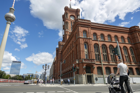 Berlin, Germany - July 01, 2018: Spandauer Street in the central part of Berlin Archivio Fotografico - 105121053