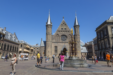 The Hague, Netherlands - July 03, 2018: Binnenhof - the buildings of the Parliament of the Netherlands and the residence of the Prime Minister. Редакционное
