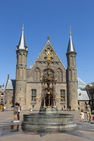 The Hague, Netherlands - July 03, 2018: Fountain in front of the Knight's Hall in the square Binnenhof