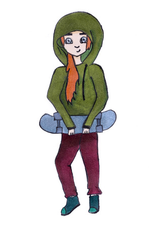 Childrens drawing of a girl with skateboard, made of markers on paper Zdjęcie Seryjne