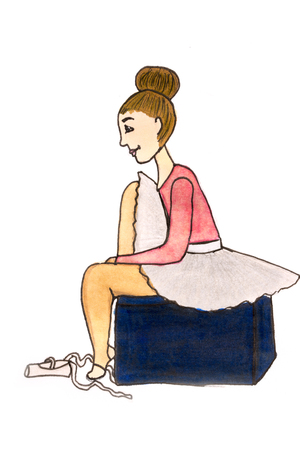 Childrens drawing of a ballerina made by markers on paper