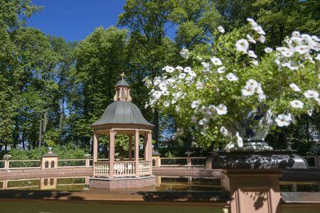 SAINT PETERSBURG, RUSSIA - AUGUST 08, 2018: Arbor on a lake in the Summer Garden in St. Petersburg