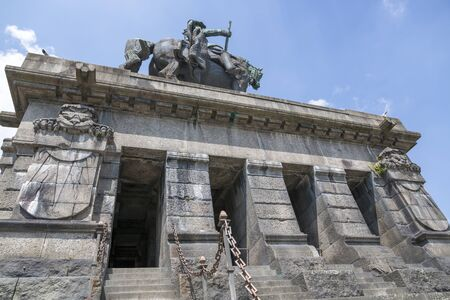 Koblenz, Germany - July 07, 2018: Monument to Kaiser Wilhelm I in Koblenz, bottom view