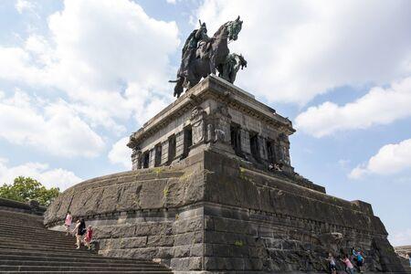 Koblenz, Germany - July 07, 2018: Monument to Kaiser Wilhelm I in Koblenz