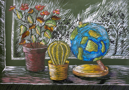 Childrens gouache painting Still Life with Plants and Globe