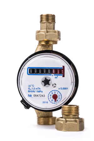 Water metering device on a white