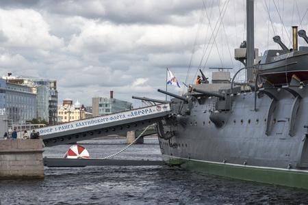 St. Petersburg, Russia - August 14, 2018: Gangway on the cruiser of the Baltic Fleet Aurora in St. Petersburg