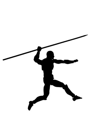 Silhouette of a running man with a spear on a white background