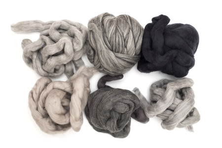 Hanks merino wool gray shades of color on a white background 写真素材