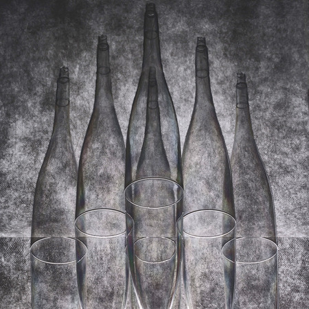 Still life with glasses Six conical shapes