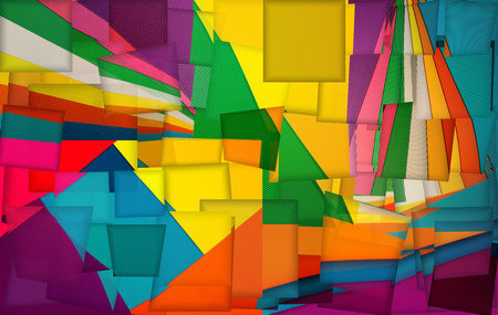 Abstract collage of backgrounds of corrugated colored cardboard