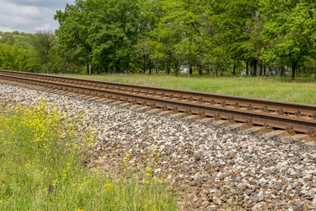 Summer landscape with railway, trees and wildflowers Reklamní fotografie
