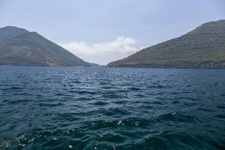View of the Bay of Kotor in the Adriatic Sea, Montenegro 写真素材