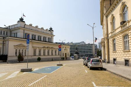 Sofia, Bulgaria - August 09, 2017: View of the monument to the Tsar Liberator and the Bulgarian Parliament building