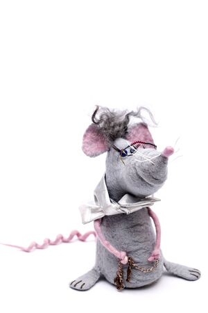 Rat - soft toy made of felted wool on a white