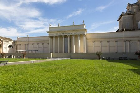 Rome, Italy - August 17, 2019: Building of the Braccio Nuovo Gallery in Vatican
