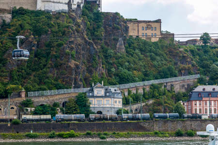 Koblenz, Germany - July 07, 2018: German Corner, where the Moselle flows into the Rhine
