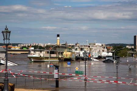 Dresden, Germany - June 05, 2013: Dresden waterfront during floods in 2013
