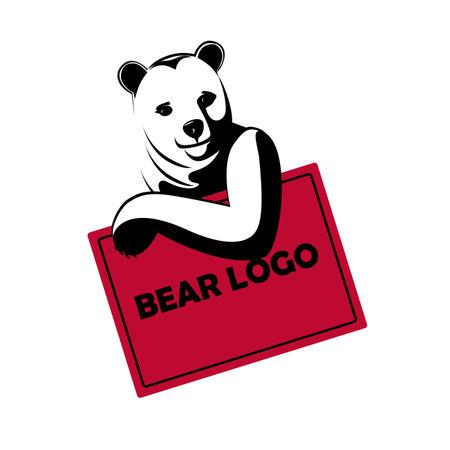 Good-natured bear logo isolated on a white background.