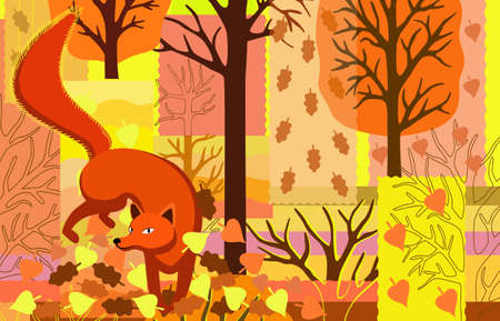 Autumn background with fox, trees and leaves in patchwork style.