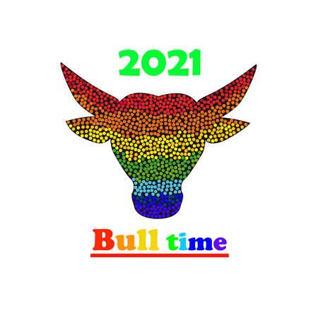 Mosaic rainbow bull time logo design 2021 illustration isolated on a white background.