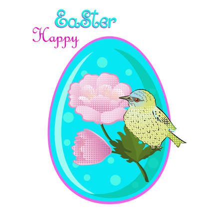 Easter egg with sitting bird and pink flowers and lettering isolated on a white background.