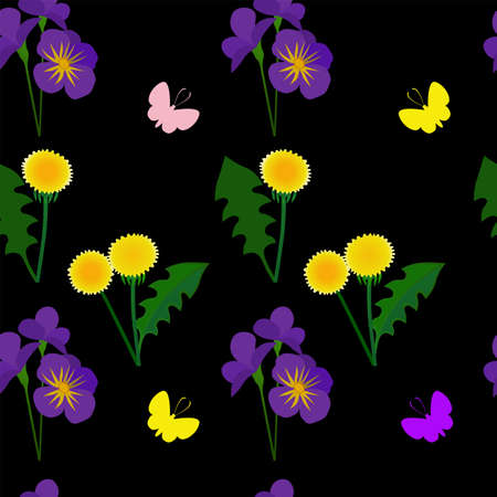 Seamless pattern with dandelions and violets on a black background.