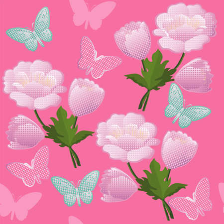 Floral background with pink flowers and butterflies. Seamless pattern with blossom.