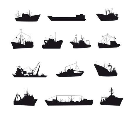 Set of fishing boats icons isolated on a white background. Vektoros illusztráció