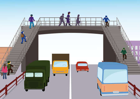 Adults and children crossing the street on the overpass.