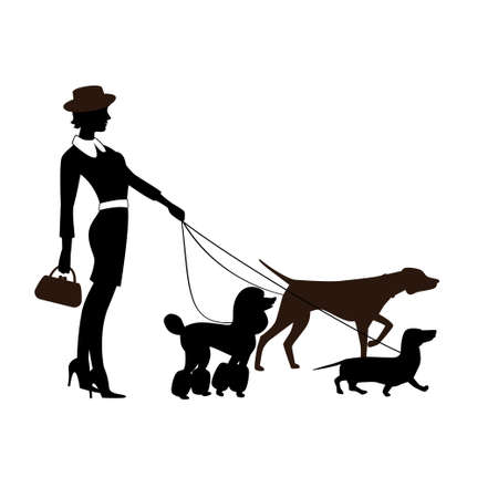 Silhouette of a funny fashionably dressed girl in a hat with the pedigree dogs isolated on a white background.