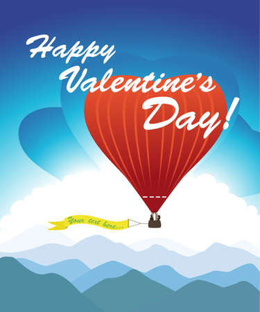 Greeting card for Valentine's Day. Romantic hot air balloon background. Couple in love traveling in a balloon.