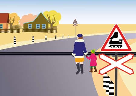People pass through unregulated railway crossing in the village. Ilustração Vetorial