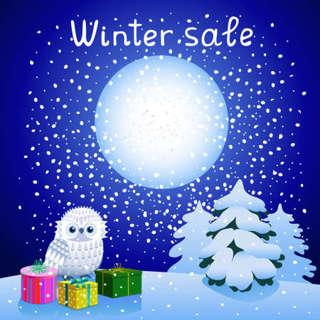 Winter night landscape with Owl, presents and snow-covered spruce on a background of falling snow and moon. Promotional poster Winter sale.