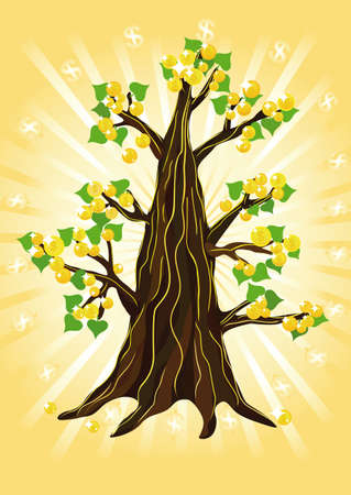 Shining Money tree with golden coins and green leaves.