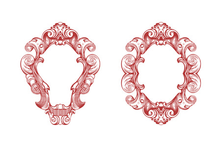 Vector damask frame. vector illustration. Illustration