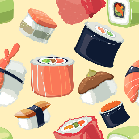 Sushi pattern vector illustration.