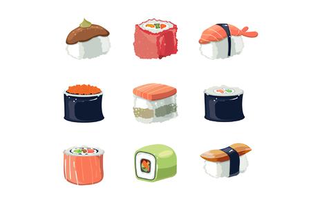 Sushi set. vector illustration. Çizim