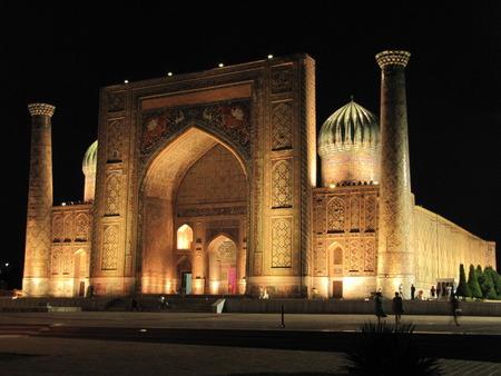registan: Mosque Sherdor on Registan Square in Samarkand city Stock Photo