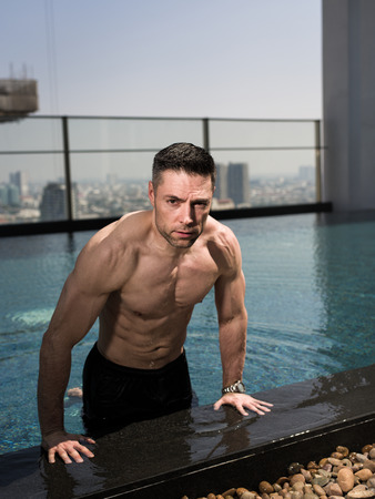 sixpack: fit man over 40 in a pool