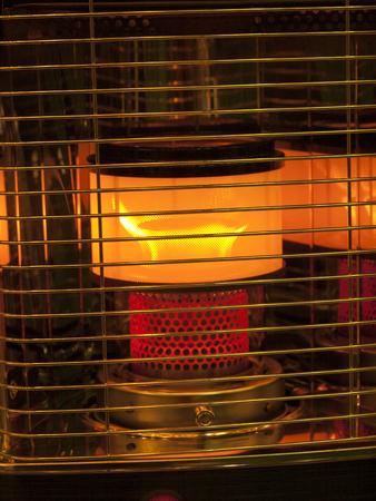 Room heaters, open fire behind metal bars