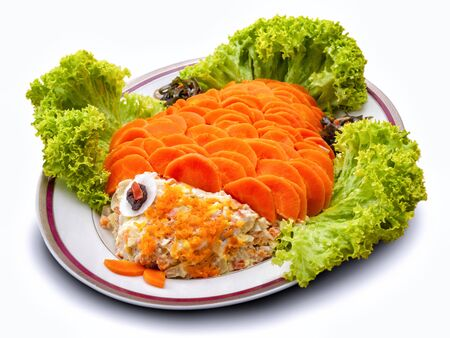 Isolation dishes with fish salad with mayonnaise, vegetables and herbs 写真素材