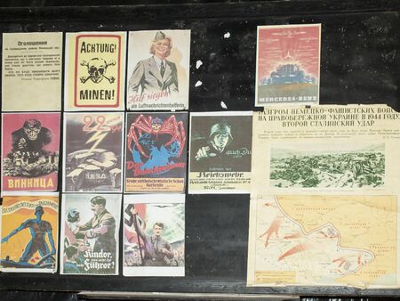 Ukraine, April 29, 2018, old propaganda posters at the rate of the Hitler werewolf during World War II.
